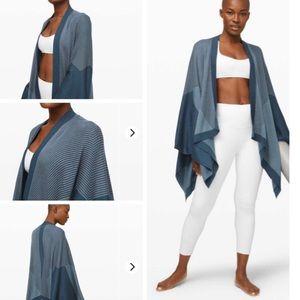 New Lululemon blue serenity wrap sweater Cashmere